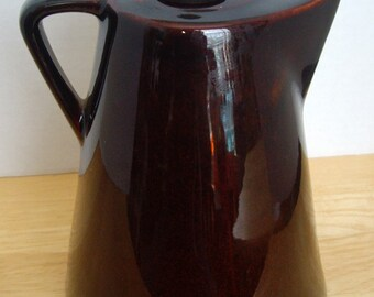 Ceramic Coffee Pot Bottle, Glossy Brown, Leroux  Liqueur,  Rustic, Country Cabin, Farmhouse Decor