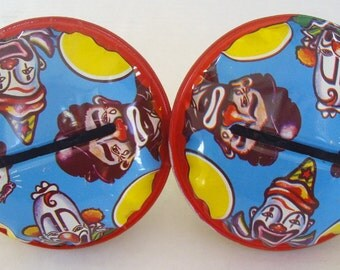 Clown Shaker Tin Noisemakers, Blue Yellow, US Metal Toy MFG, Set of Two, Party Fun, New Year's Eve, Birthday Parties