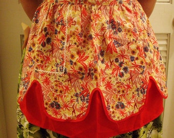 Free Shipping, Tropical Floral Print Reversible Hostess Half Apron, Red, Blue, New with Tag