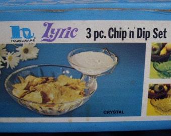 Crysyal Chip and Dip Set, Hazelware Lyric, Retro, Entertaining, Crudity Bowl, Pretzel Bowl, Nuts Candy Dish, Gifts Under 20
