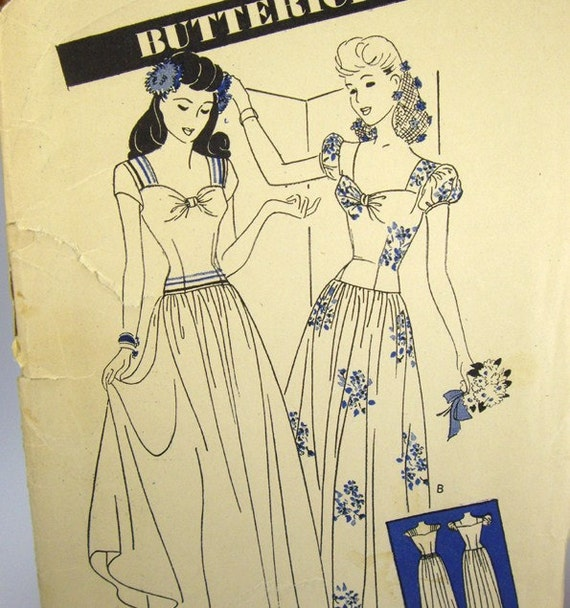 size 14 - Butterick Pattern 3013, Jr Miss Misses Dance Dress, Bust 32, CUT Pre Used, Vintage Sewing Patterns, 1940's Fashion