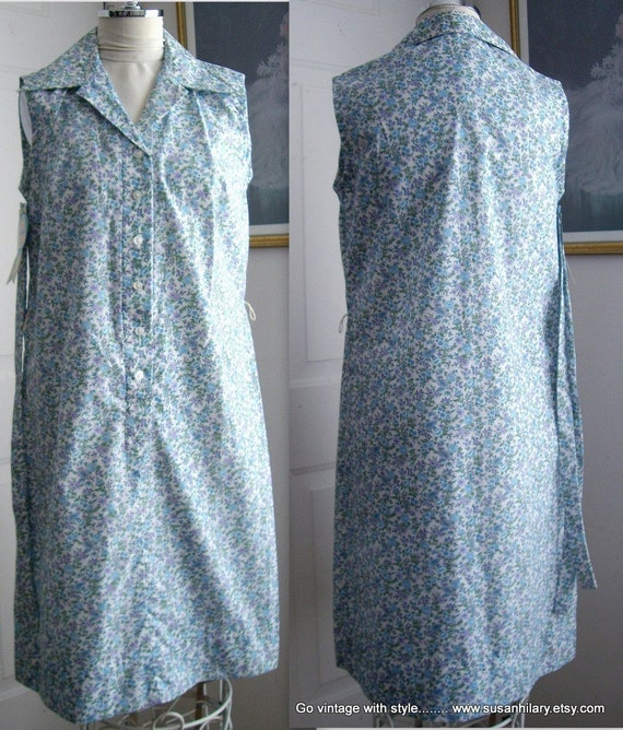 Womens Sleeveless Poly Cotton Shift Dress, Blue Floral,  Lavender White Posies, Retro 70's, Size 14, Kay Whitney,  Vintage Ladies Dresses