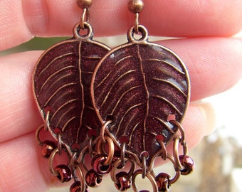 Copper Leaf and Resin Earrings