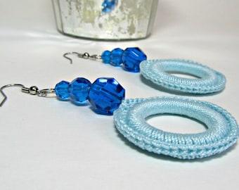Circle Dangle Earrings Aquamarine Jewelry Azure Blue Beads Crochet Fashion Accessory Handmade by Lilena