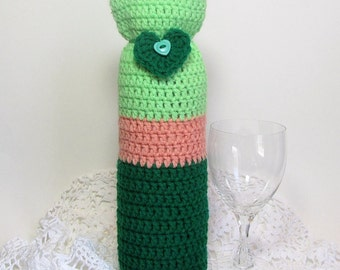 Wine Bag Bottle Cozy Champagne Carrier Romantic Heart Evergreen Yarn Lime Cozee Peach Stripe Reusable Gift Sack
