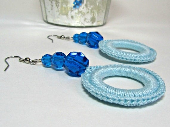 Circle Dangle Earrings Aquamarine Jewelry Azure Blue Beads Crochet Fashion Accessory Handmade by Lilena