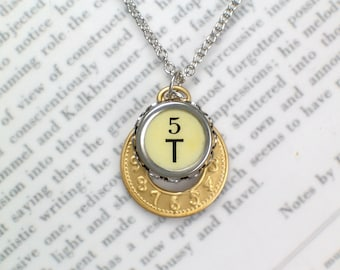 Typewriter Key Initial Necklace Pendant - Initial T With Clock Charm - Mixed Metals - Typewriter Key Jewelry From HauteKeys