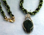 Dark Green Fancy Jasper Wrapped in Sterling Silver with Gold filled Wire Accents Pendant on a Dark Green Satin Kumihimo Rope