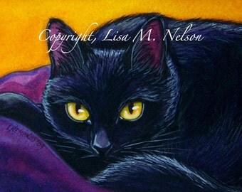 Black Cat Peeking Limited Edition Print of my Original Painting 29/50