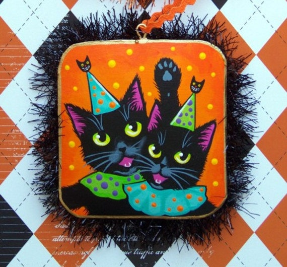 Original Painting on Tin Black Cats Folk Art Halloween Party Ornament