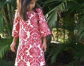 Girls Peasant Dress Peppermint Red Damask  6mos to 12 - HotLavaClothing