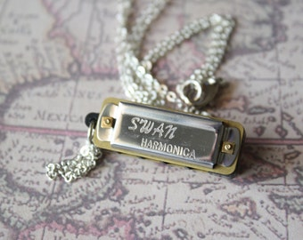 Long Necklace | Functional | Mini Harmonica Charm Necklace | N40012