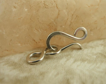 1 Set -  Nickel Silver Hand Forged Clasps with Figure Eights -  Sterling Alternative