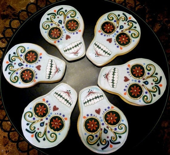 Dia de los muertos - Day of the Dead Cookies Halloween - Half Dozen