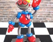 Robot Birthday Cake Topper | MADE TO ORDER & Customizable | Blue Red Robot Sculpture