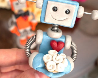 Robot Wedding Cake Topper | Orange and Blue | Made to Order Customizable | Clay, Wire