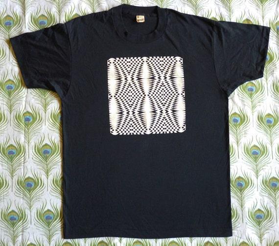 Op Art Vintage 80's Geometric Eye Illusion Puzzle T Shirt Screen Stars XL Deadstock NOS Skate Punk Print