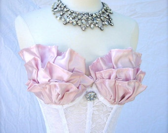 Pink Ruffled Bustier Top in Lace and Satin with Rhinestone Brooch MADE TO ORDER