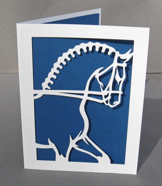 Dressage Horse Paper Art Equestrian Silhouette Greeting Card - Set of 6