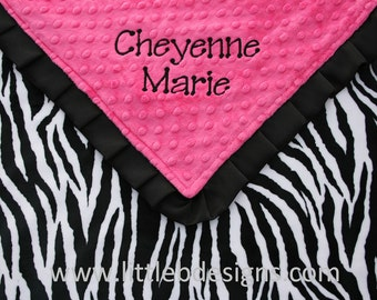 Personalized Baby Blanket - Zebra Print and Hot Pink Minky with Satin Ruffle