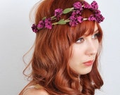 Woodland flower crown, plum floral wreath, purple flower hair accessory, bridal hair band - Erianthe
