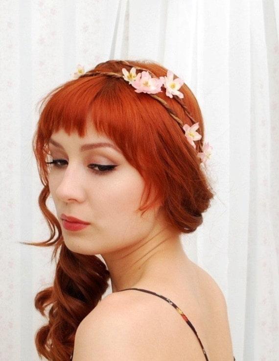 Pink flower crown, circlet, cherry blossom wreath, wedding head piece - Kaylee