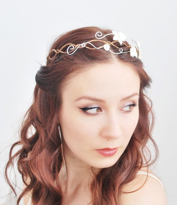 Ethereal bridal tiara, white hydrangea flower crown, hair circlet, wedding accessory - Evelyn
