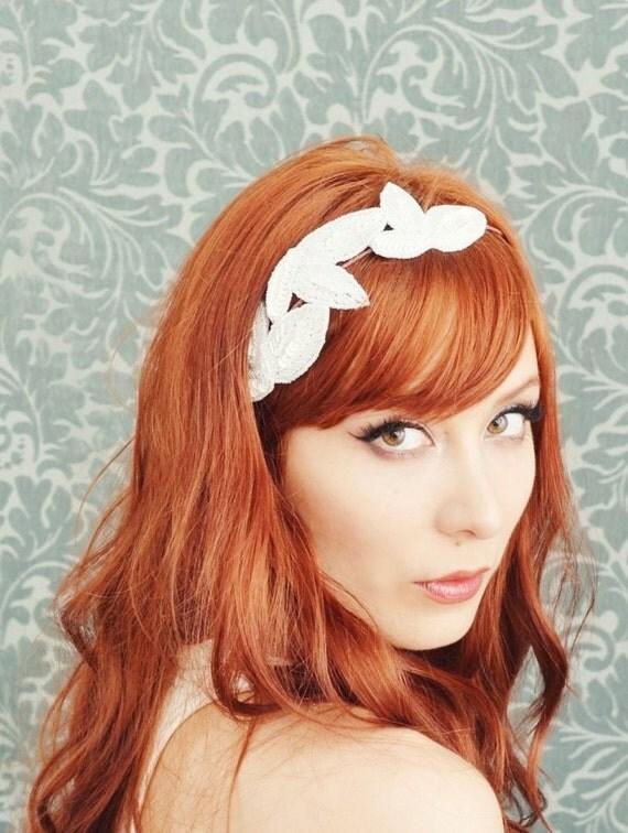 Bridal headband, wedding head piece, beaded crown, hair accessories