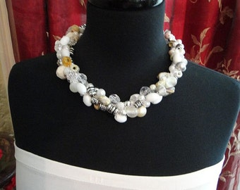 Bridal Crochet Necklace -  bridal jewelry, beach bride, glass beads, crystals, white pearls, shells,  crochet jewelry N-30