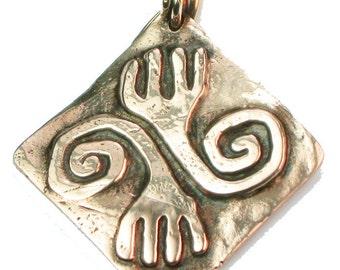 Inca Love Peace Pendant - Bronze Peace Pendant - World Peace Pendant - Bronze Peruvian Wold Peace Symbol - Handmade Inca Hand Symbol Pendant