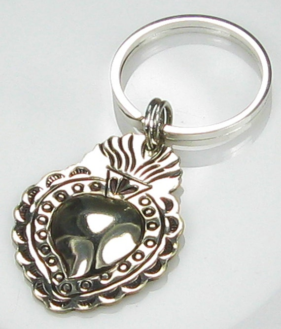 Milagro Flaming Heart Sterling Silver Key Ring, Necklace or Pendant - Vintage Milagro Flaming Heart Pendant / Milagro Silver Key Ring Gift