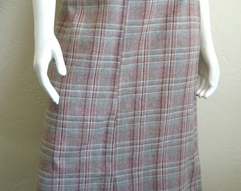 Vintage Women's 80's A Line Skirt, Pink, Plaid, Wool, Polyester by Casual Corner (M)