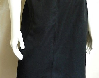 Vintage Women's 80's Skirt, Black, A-Line, Polyester, Knee Length by Panther (M/L)