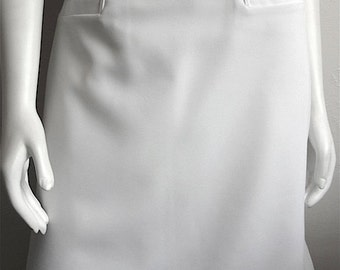 Vintage Women's 80's White Uniform Skirt, Polyester, Knee Length, A-Line, Fully Lined (M/L)