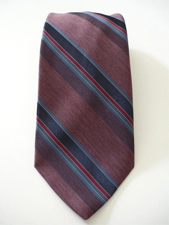 Vintage Neckties Men's 80's Polyester, Silk, Red, Blue, Striped, Neckwear 498 FreshandSwanky on Etsy