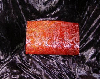 Orange and Gold Brocade Magnetic Purse Cover