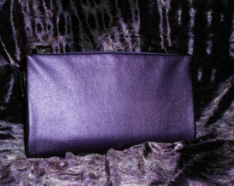 Metallic Purple Pleather Magnetic Purse Cover
