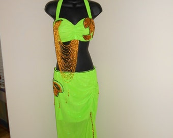 Neon Green and Gold Egyptian Cabaret Bellydance Bra and Skirt, Veil, Gauntlets and Crown