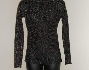Tribal Fusion Bellydance Black and Silver Mesh Shirt Small