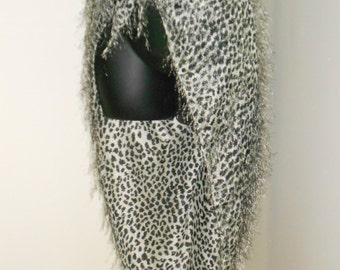 Fusion Cabaret Bellydance Black and White Fuzzy Animal Print Triangle Hip Scarf- Plus Size