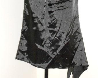Goth Tribal Fusion Bellydance Black Satin Asymmetrical Mini Panel Skirt