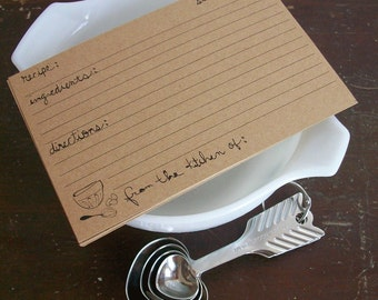 INSTANT DOWNLOAD Recipe Cards  - Rustic Mixing Bowl & Whisk Design - Print at Home DIY Version