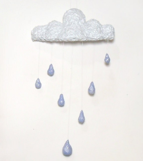 April Showers - Large Rain Cloud Mobile - Handmade Recycled Paper - Eco Baby - Spring
