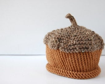 ACORN hat - Baby knit hat - newborn children baby kids autumn