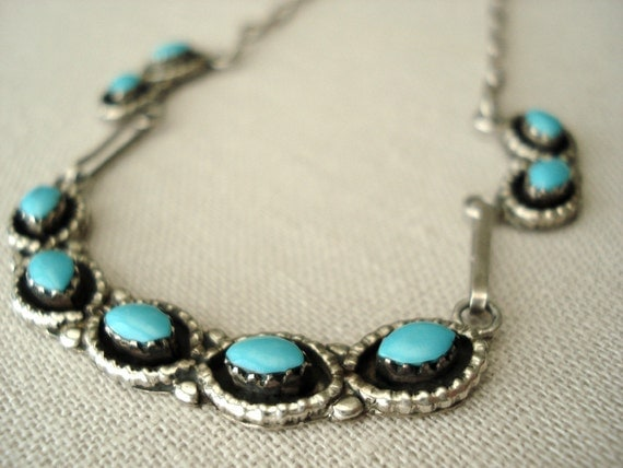 SALE Southwestern Sterling and Turquoise Necklace