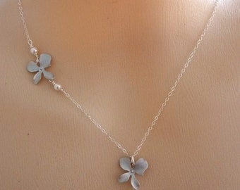 BRIDAL JEWELRY - White Fresh Water Pearl Double Silver Orchid Flower Necklace in Sterling Silver Chain