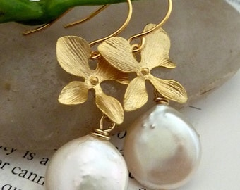 SIMPLICITY - Coin Pearl, Orchid Flower Earrings - (Silver Version is also available)