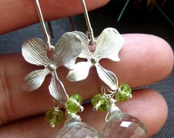 Green Amethyst Peridot Long Lotus Petal Sterling Silver Earrings