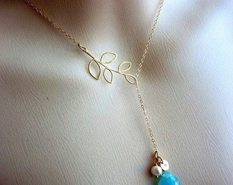 Custom and Stone Initial - Aqua Chalcedony Custom initial Disc Pearl Lariat Necklace in 14K Gold Filled ChainChain