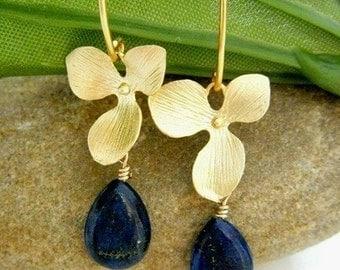 Lapis Lazuli Orchid Gold Vermeil Lotus Petal Earrings